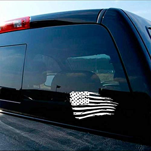 American Flag Decal Distressed Military Decal Set White ()