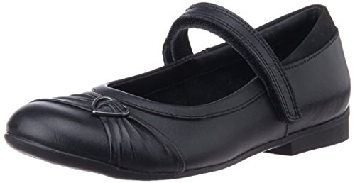 Clarks Girls School Dolly Heart Leather Shoes In Black Standard Fit Size 10.5