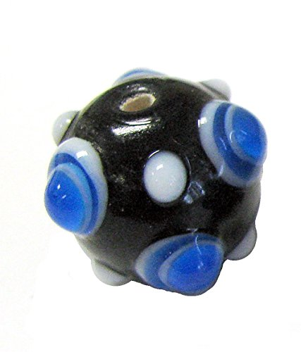 (Linpeng 30PCS Murano Style Polka Dots, Millefiori, Dotted Bumps Around Lampwork Glass Beads/Black & Blue Color/Size Around 20mm with 2mm)