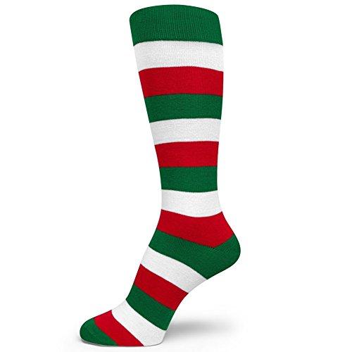 - Spotlight Hosiery Three Color Striped Mens Dress Socks Green/Red/White