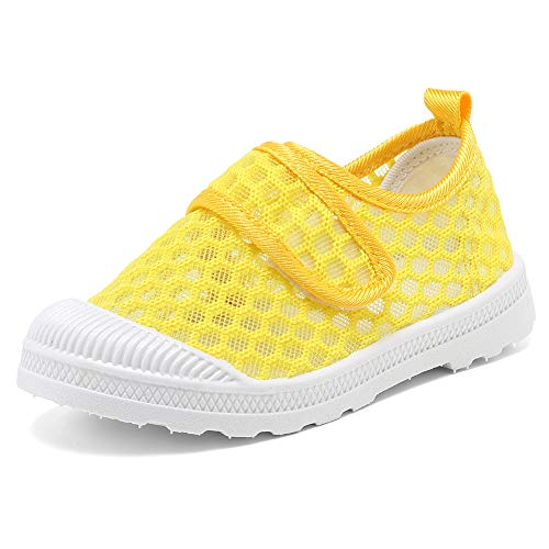 CIOR Boys & Girls' Breathable Mesh Slip-on Sneakers Sandals Water Shoe for Running Pool Beach Toddler/kidsU119STWX003,Yellow,25
