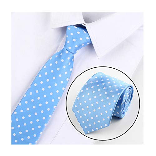 Big Boy Sky Blue Polka Dot Silk Cravat Tie Fashion Neckwear Holiday Gift for Men