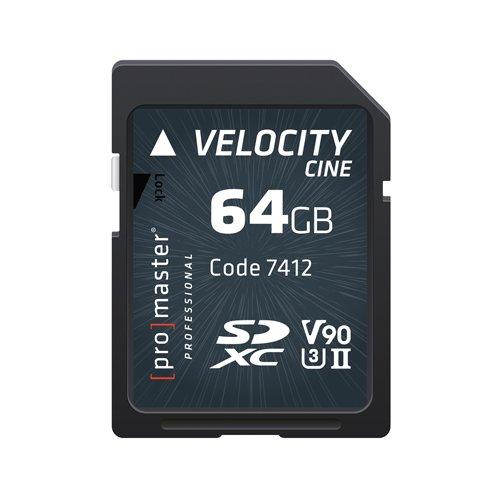 Promaster SDHC 64GB Velocity CINE V90 UHS-II U3 Memory Card (7412) by ProMaster