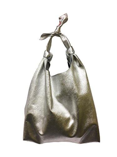 Lamb Leather Hobo Handbag (GRIMALDI LEATHER Hobo Tote Metallic Silver Lambskin (Size: 14.5