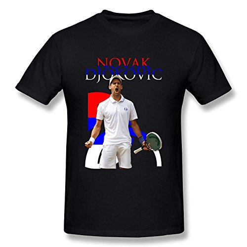 Zelura Men's 2015 U.S. Open Novak Djokovic T-shirts Black XXL