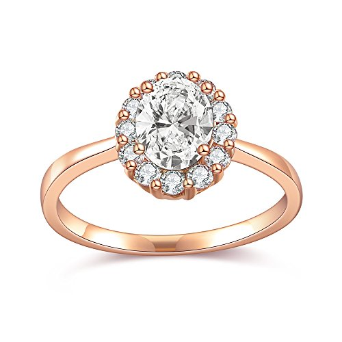 Dnswez Rose Gold Plated Round CZ Cubic Zirconia Wedding Engagement Band Ring(7) Bar Set Engagement Ring