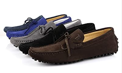 HAPPYSHOP(TM) Mens Suede Leather Loafers Casual Moccasin Slip-on Tassel Loafers Driving Shoes