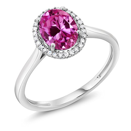 10K White Gold Diamond Halo Engagement Ring set with 1.65 Ct Oval Pink Created Sapphire (Available in size 5, 6, 7, 8, 9)