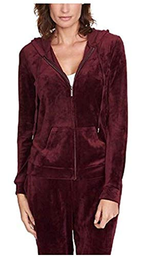 Gloria Vanderbilt Women Velour Full Zip Sweatshirt Hoodie Jacket Merlot L