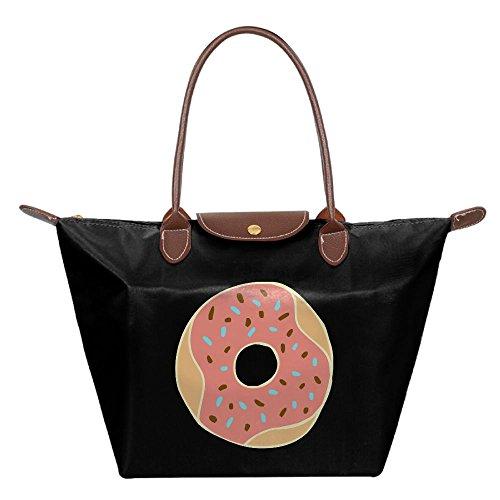 Folding Dumpling Bag Top Handle Handbag Women's Satchel Shoulder Shopping Gripesack Orange Doughnut Nylon - St Canal Shopping