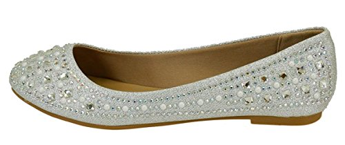 Forever Link Women's Sparkle Bead Crystal Embellished Metallic Dress Ballet Flat Silver 6