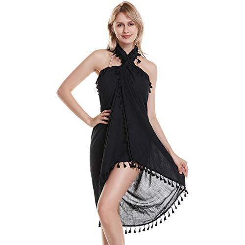 Eicolorte Hawaiian Beach Sarong Pareo Women Bikini Cover Up Swimsuit Wrap Skirt Swimwear (Black-Long)
