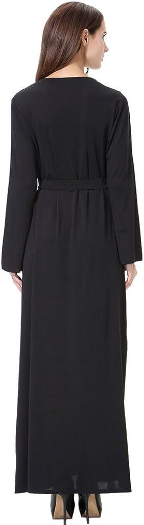 GladThink Mujer musulm/án Medio Oriente Arabia Cuello Redondo Vestido Largo Negro