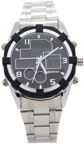 KONTAS Stainless Steel 5Dials Dual Time Black Sports Watches
