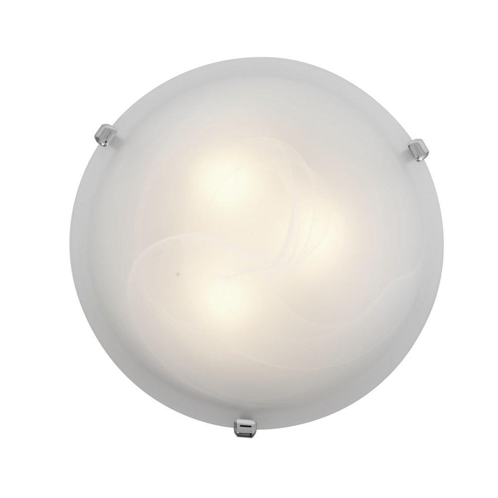 Mona - 12''dia Flush Mount - Brushed Steel Finish - Alabaster Glass Shade