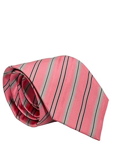 - Burberry Woven Embroidered Equestrian Pattern Wide Cut Mens Silk Necktie (Pink/Grey)