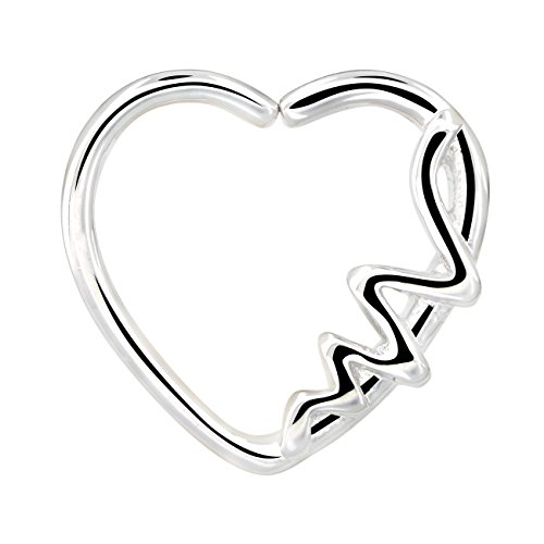 (OUFER Body Piercing Jewelry 18K White Gold Plated Heart Shaped Waves Left Closure Daith Cartilag Tragus Helix Earring 16Gauge (white gold))