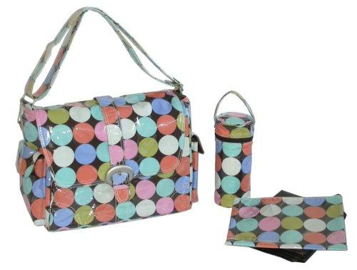 Disco Dot Diaper - Kalencom Laminated Buckle Bag, Disco Dots Cocoa