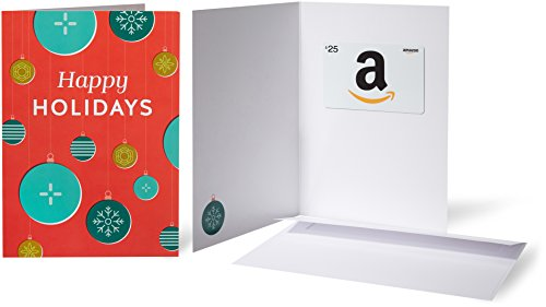 - Amazon.com $25 Gift Card in a Greeting Card (Holiday Ornaments)