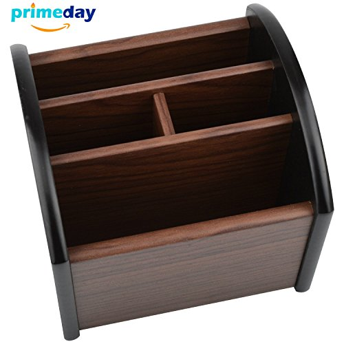 Wooden Desk Organizer, MaxGear Wood Desktop Organizer with 4 Compartments Office Supplies Revolving Pen Holder Desk Accessories