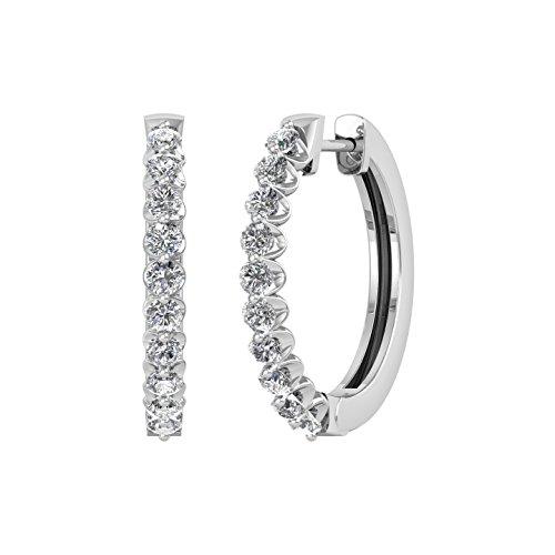 14k White Gold Round Diamond Prong Set Hoop & Huggies Earring (1/2 (1/2 Ct Diamond Huggie Earrings)