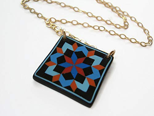 "18"" Carpenters Star Quilt Block Necklace 14K Gold Filled, Limited Edition Polymer Clay, Quilters Jewelry from Abundant Earth Works"