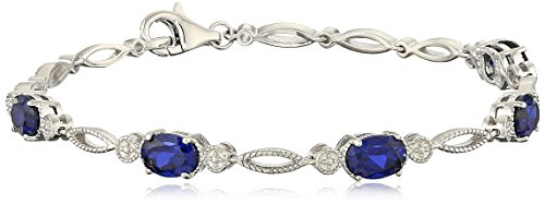 Sterling Silver Created Blue Sapphire Oval Bracelet, 7.5'' by Amazon Collection