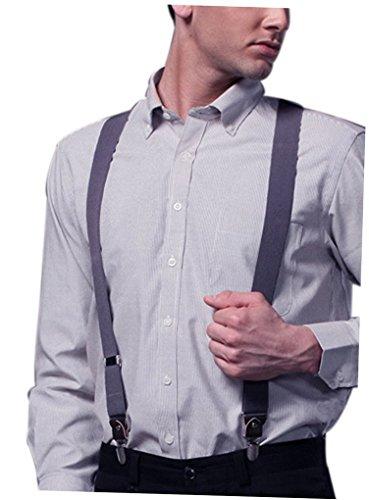 Forme Gris Jeans Élastique Cuir Acme Casual Bretelles Pantalon Homme Clips Pour 4 Avec Entièrement Solide V Réglable qF4FEa