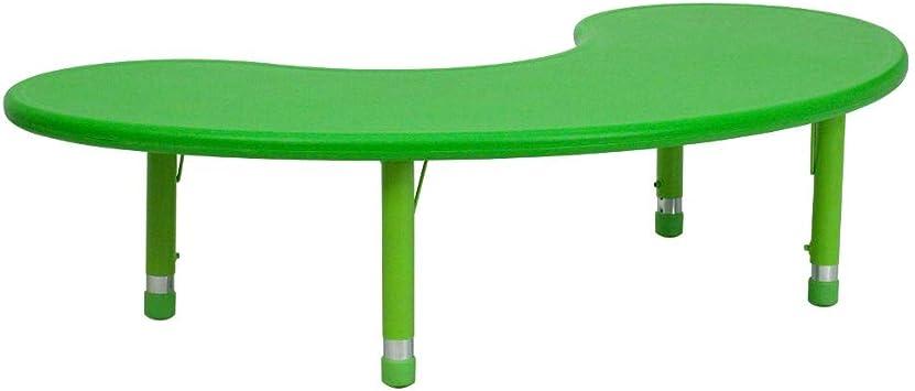 Amazon Com Flash Furniture 35 W X 65 L Half Moon Green Plastic Height Adjustable Activity Table Furniture Decor