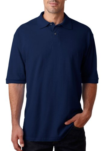Jerzees mens 6.5 oz. Ringspun Cotton Pique Polo(440)-J NAVY-L
