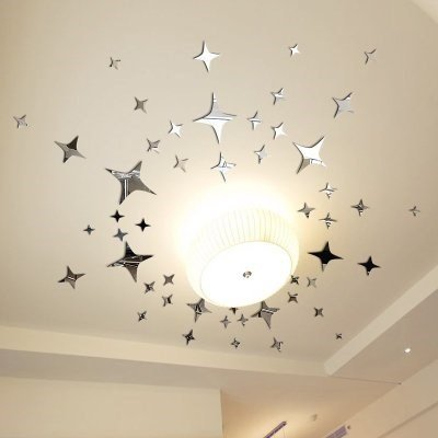 Mirror Wall Sticker, Home Inspira Silver Stars Mirror Wall Decor Removable DIY 3D Mirrors Wall Decals Acrylic Mirror Decorative Wall Art For Living Room Bedroom Celling 43pcs (Mirrors Long Silver)