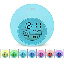 OUTWIT Alarm Clock, Wake Up Digital Clock for Kids, 7 Colors Changing Bedside Clock for Bedroom, with Indoor Temperature Calendar, Touch Control and Snooze, 2018 【Updated Version】