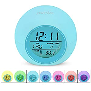 OUTWIT Alarm Clock, Wake Up Digital Clock for Kids, 7 Colors Changing Bedside Clock, with Indoor Temperature Calendar, Touch Control and Snooze Function for Bedroom, Best Gifts for Children (Blue)