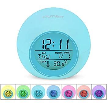 OUTWIT Kids Alarm Clock, Wake Up Digital Clock for Kids, 7 Colors Changing Light Bedside Clock for Boys Girls Bedroom, with Indoor Temperature Calendar, ...