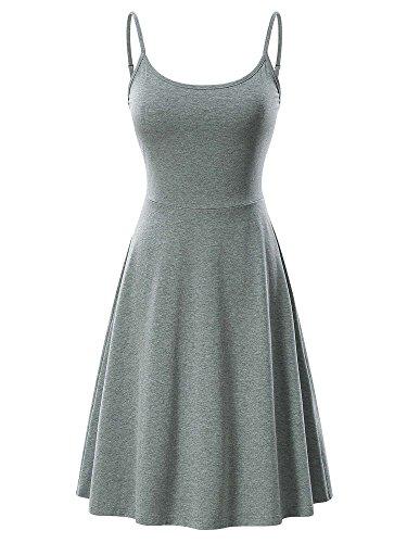 (VETIOR Women's Sleeveless Adjustable Strappy Flared Midi Skater Dress (Large, Dark Grey))