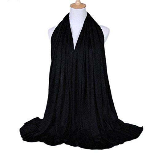 LMVERNA Women's Jersey hijab scarves cotton fashion long plain muslim head scarf wrap shawls (Black)
