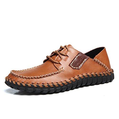 [QIFENGDIANZI] メンズ カジュアルシューズ デッキシューズ 靴 ドライビングシューズ スニーカー 紳士靴 ローカット アウトドア オシャレ スリッポン コンフォート ブラック コーヒー ブラウン