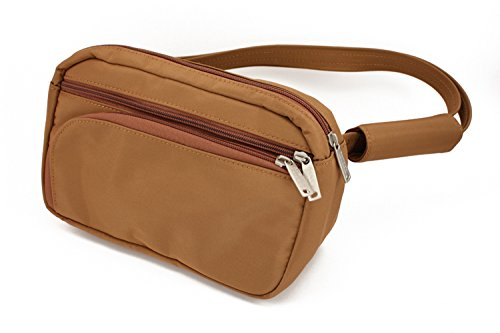 DayMakers BeSafeBags HipSafe Anti-Theft Security Waist Pack w/Organizer, Medium, Camel Microfiber