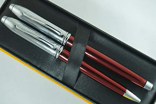 Cross Townsend Limited Edition Series Metallic Ruby Red Selectip Gel Ink Rollerball Pen and Ballpoint Pen Set Rare Combo of Cross Pen Sets by A.T. Cross (Image #3)