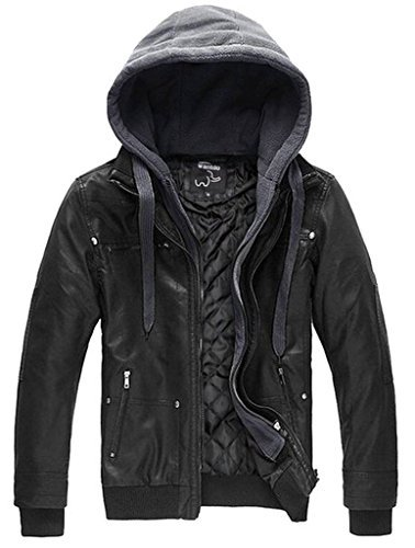 Wantdo Men's Leather Jacket with Removable Hood US Small Black(Heavy) ()