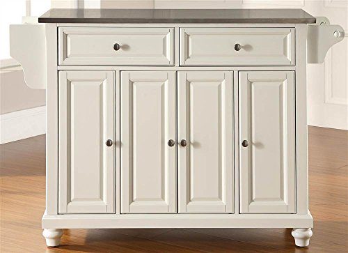 Cambridge Stainless Steel Top Kitchen Island in White
