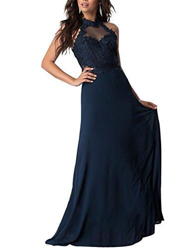 Blau Lange Ballkeid Chiffon Navy hals Erosebridal Elegantes Formelle Hohe Abendkleid gFz4x4