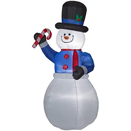 HolidayTime Inflatable Snowman with Candy Cane, Indoor/Outdoor Lighted, 9 Feet Tall