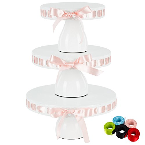 Lily 3-Piece White Metal Ribbon Cake Stand Set, Round DIY Modern Pedestal 15 Interchangeable Satin Ribbons Included