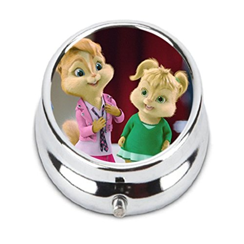 The Chipettes Custom Fashion HOT Round Pill Box stainless steel Useful Medicine Organizer Box Gift