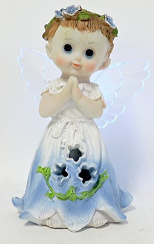 [Light Up Ceramic Angel Figurine 7 inches Tall Blinking LED Wings (Blue Boy)] (Light Up Angel Wings)