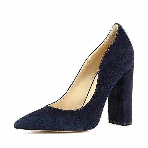 Evita Shoes Alina Escarpins Femme Daim Bleu Foncé