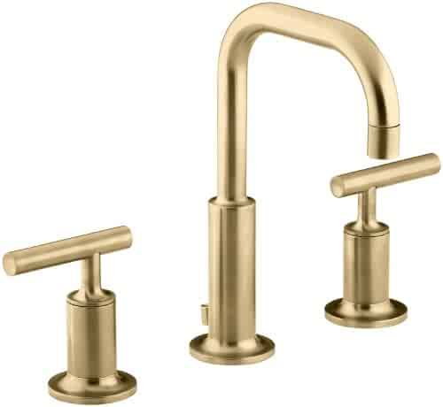 KOHLER Purist K-14406-4-BGD Widespread Bathroom Sink Faucet with Metal Drain Assembly in Modern Brushed Gold