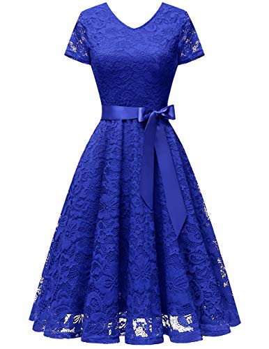 Bridesmay Women V Neck Floral Lace Cocktail Party Bridesmaid Dress with Sleeves Royal Blue 2XL -
