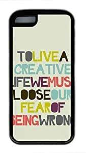 E-luckiycase TPU Supple Shell A Creative Life with Black Edges Skin for Iphone 5C Case